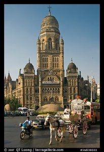 At Victoria Terminus - Horse competing with traffic